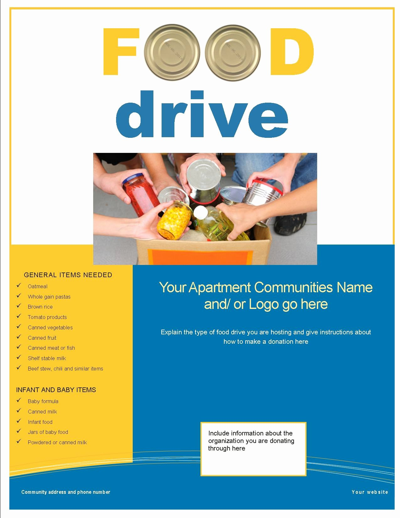 Food Drive Flyer Template Awesome 3 Great Feel Good Resident Activities