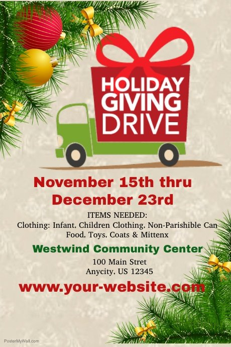 Food Drive Flyer Template Awesome Holiday Giving Drive Template