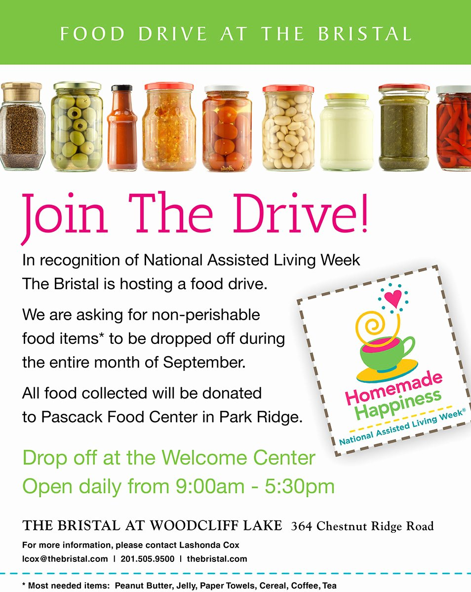 Food Drive Flyer Template Beautiful Food Drive In Woodcliff Lake the Bristal assisted Living