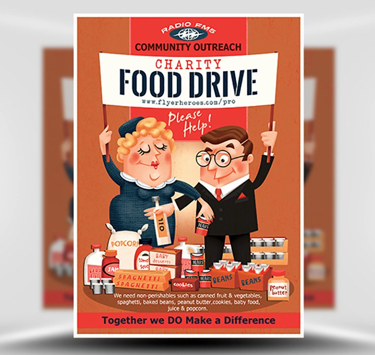Food Drive Flyer Template New Charity Food Drive Flyer Template Flyerheroes