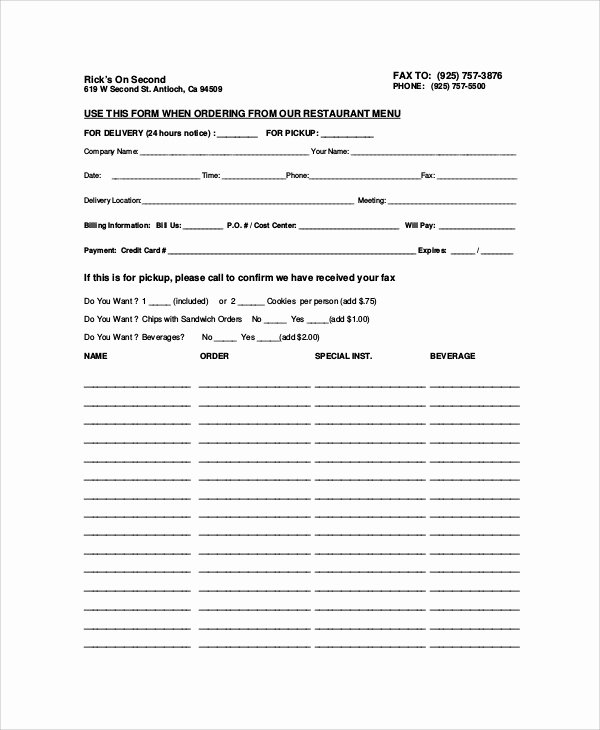 Food order form Template Beautiful 9 Sample Food order forms