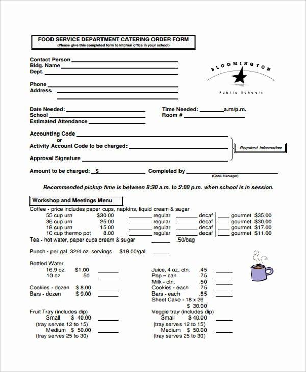 Food order form Template Elegant 28 Service order form Templates