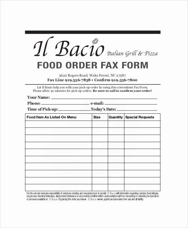 Food order form Template Elegant 9 Sample Food order forms