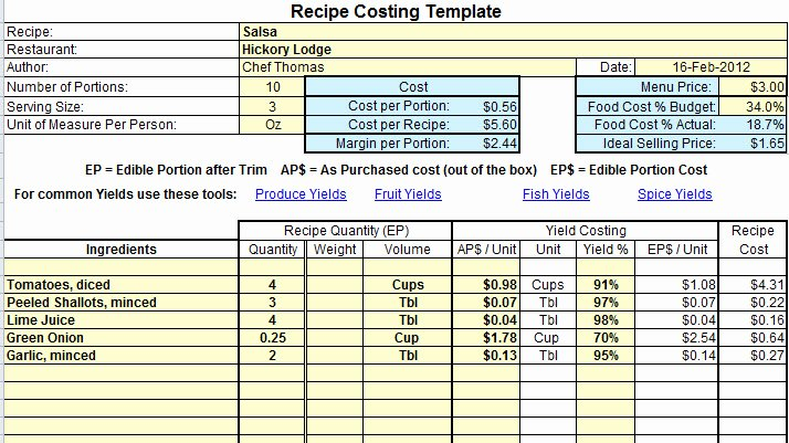 Food Production Sheet Template Best Of Plate Cost How to Calculate Recipe Cost Chefs Resources