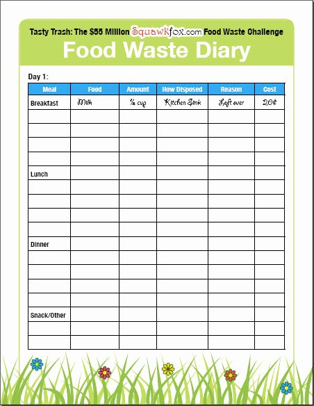 Food Production Sheet Template Elegant Save Money by Keeping A Food Waste Diary Squawkfox