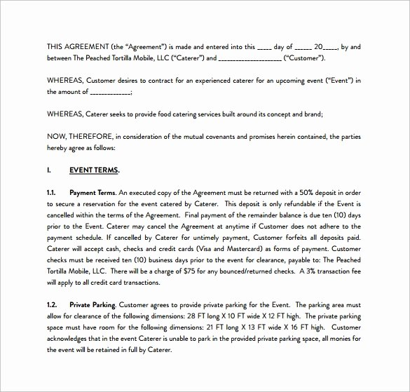 Food Service Contract Template Beautiful 15 Sample Catering Contract Templates – Pdf Word Apple