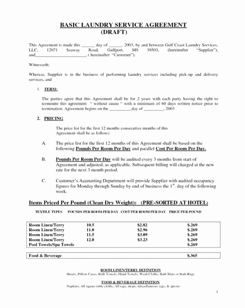 Food Service Contract Template Beautiful Agreement for Services