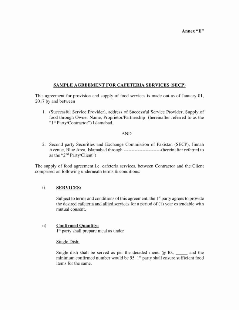 Food Service Contract Template Best Of 7 Food Service Contract Templates Pdf