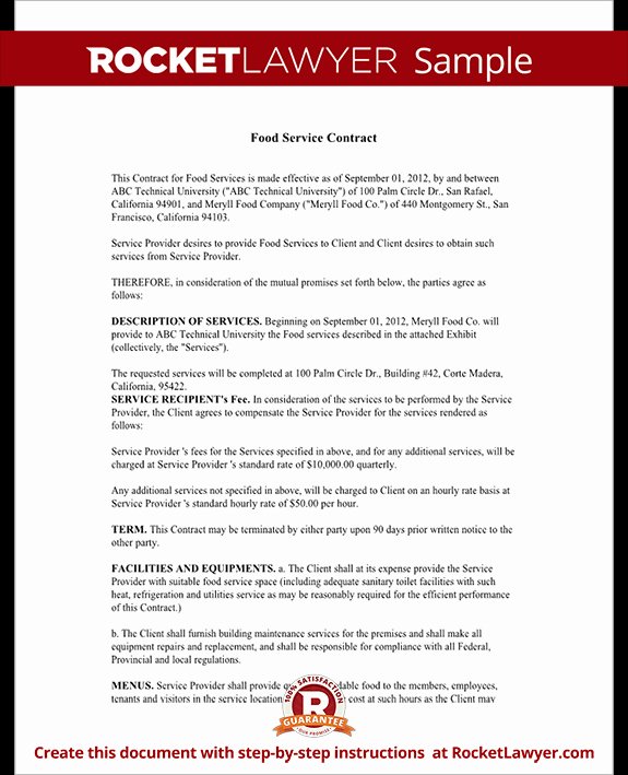 Food Service Contract Template Elegant Food Service Contract Template with Sample