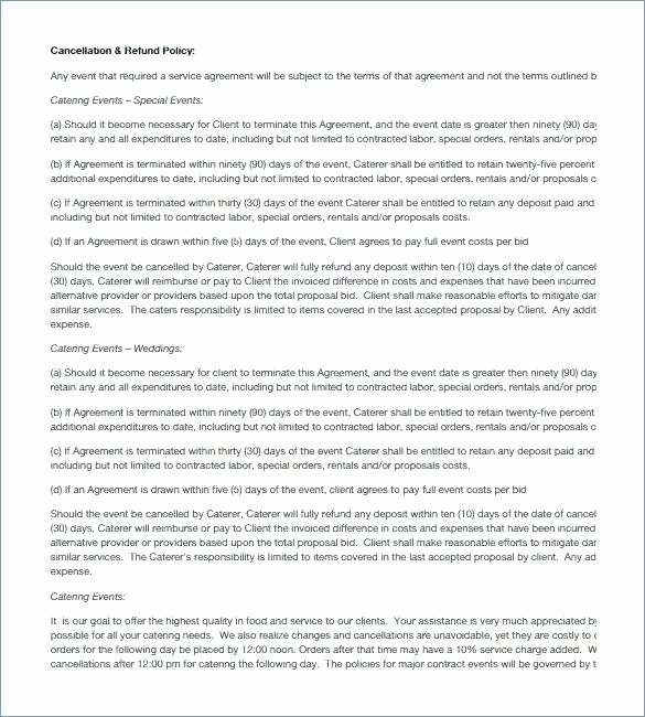 Food Service Contract Template Elegant Food Truck Catering Contract Pdf Free Download Catering
