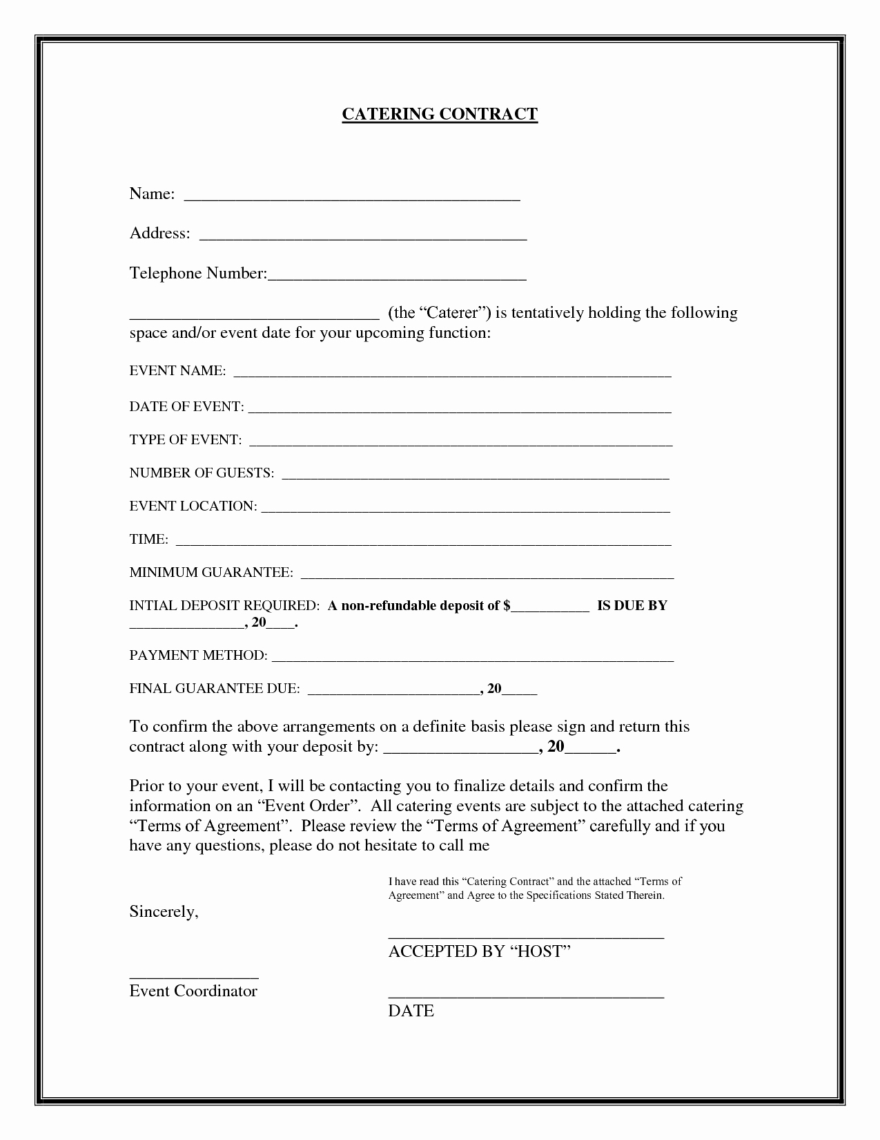 Food Service Contract Template Fresh Blank Contract Example Mughals