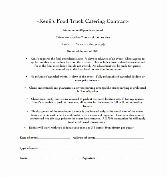 Food Service Contract Template Inspirational 15 Sample Catering Contract Templates – Pdf Word Apple