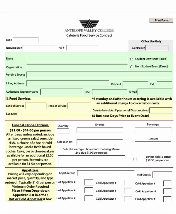 Food Service Contract Template Inspirational 7 Contract Food Service Samples