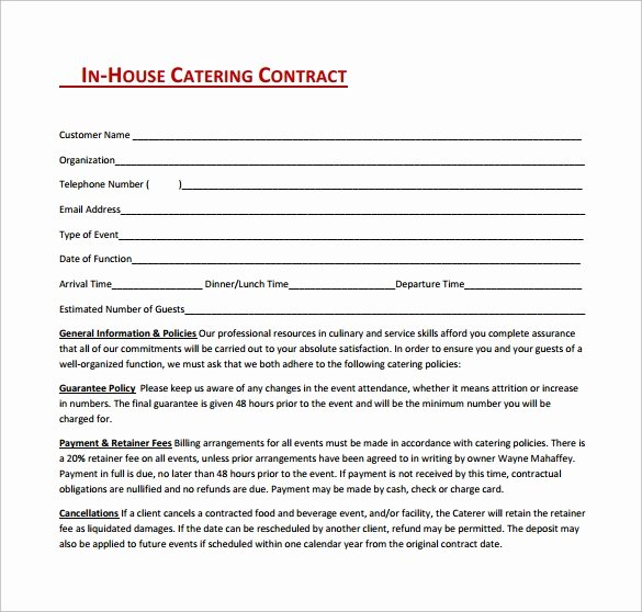 Food Service Contract Template Lovely 15 Sample Catering Contract Templates – Pdf Word Apple