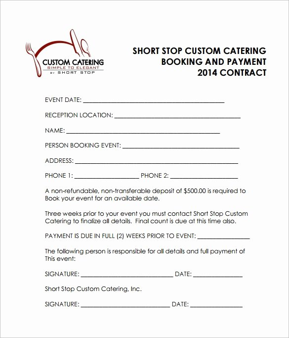 Food Service Contract Template Luxury 15 Sample Catering Contract Templates – Pdf Word Apple