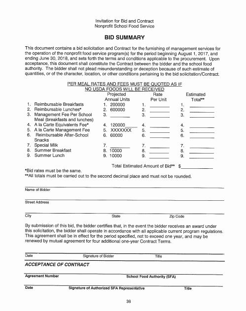 Food Service Contract Template Luxury 9 Bid Summary Templates