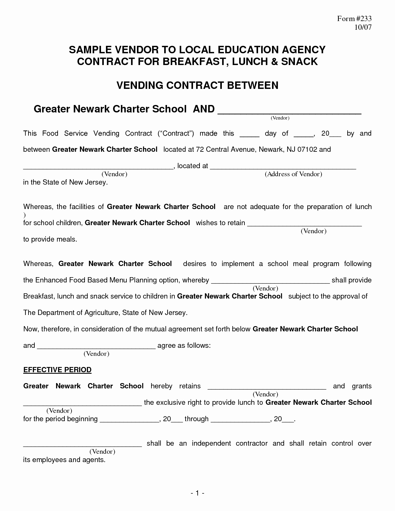 Food Service Contract Template New Food Vendor Contract Portablegasgrillweber