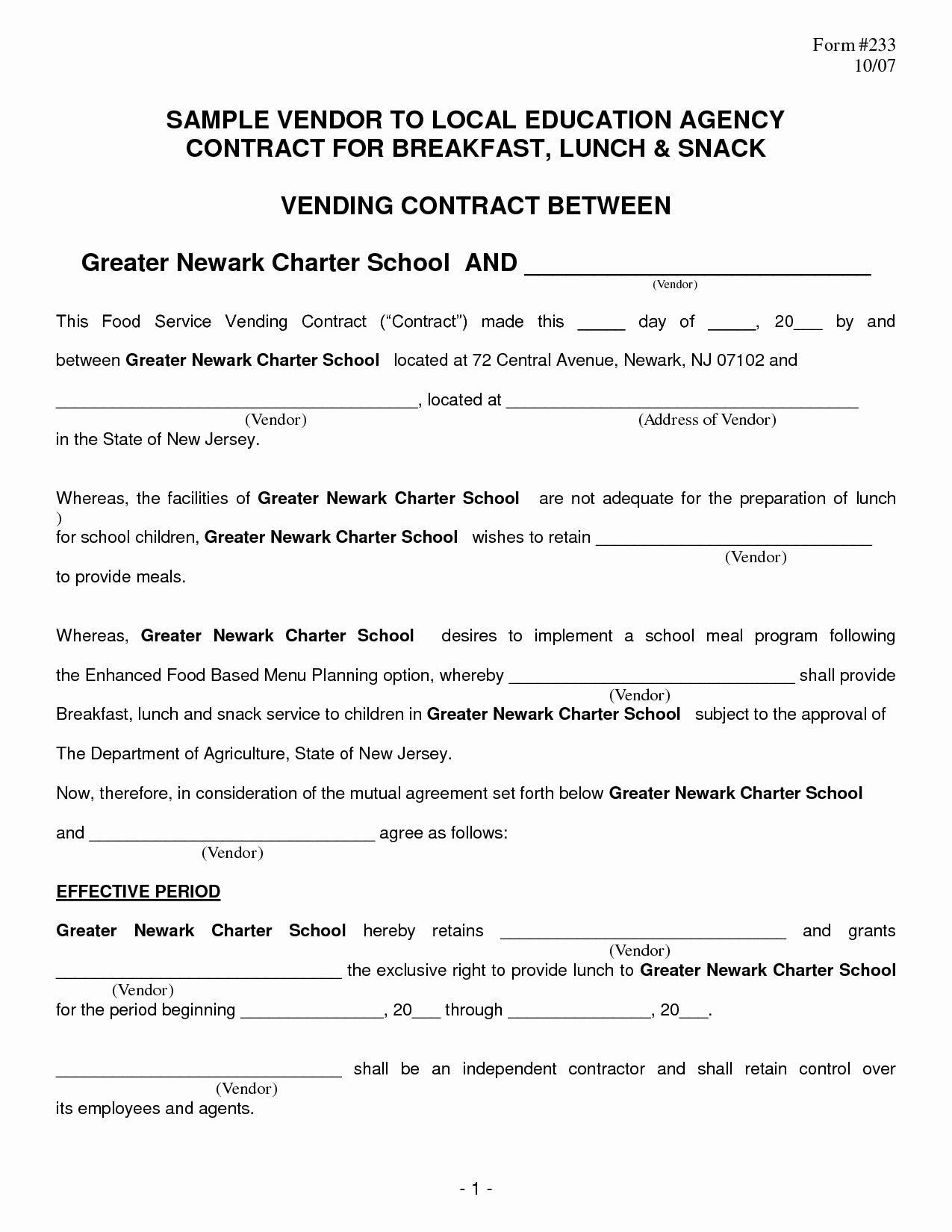Food Service Contract Template New Food Vendor Contract Portablegasgrillweber