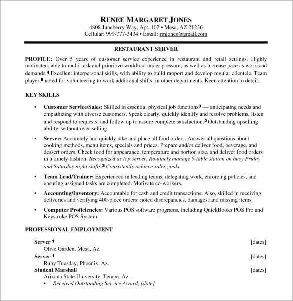 Food Service Resume Template Awesome 7 Sample Food Service Resumes