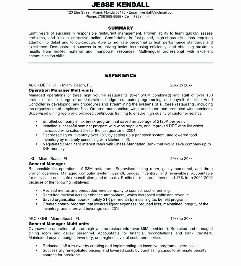 Food Service Resume Template Inspirational 9 10 Food Service Director Resume Samples