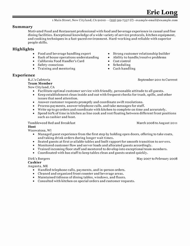 Food Service Resume Template New Impactful Professional Food & Restaurant Resume Examples