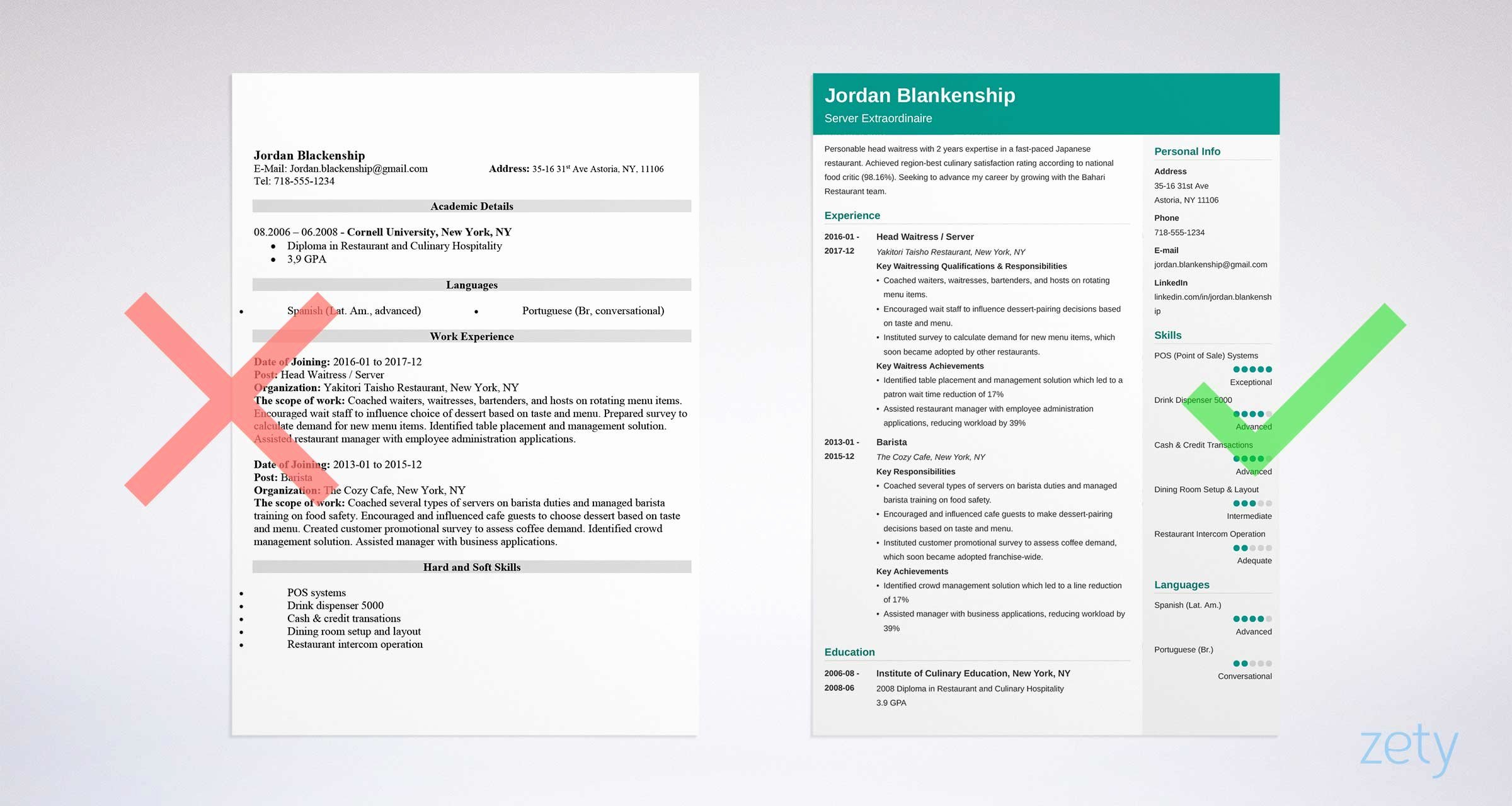 Food Service Resume Template Unique Food Service Resume Sample & Writing Guide 20 Examples