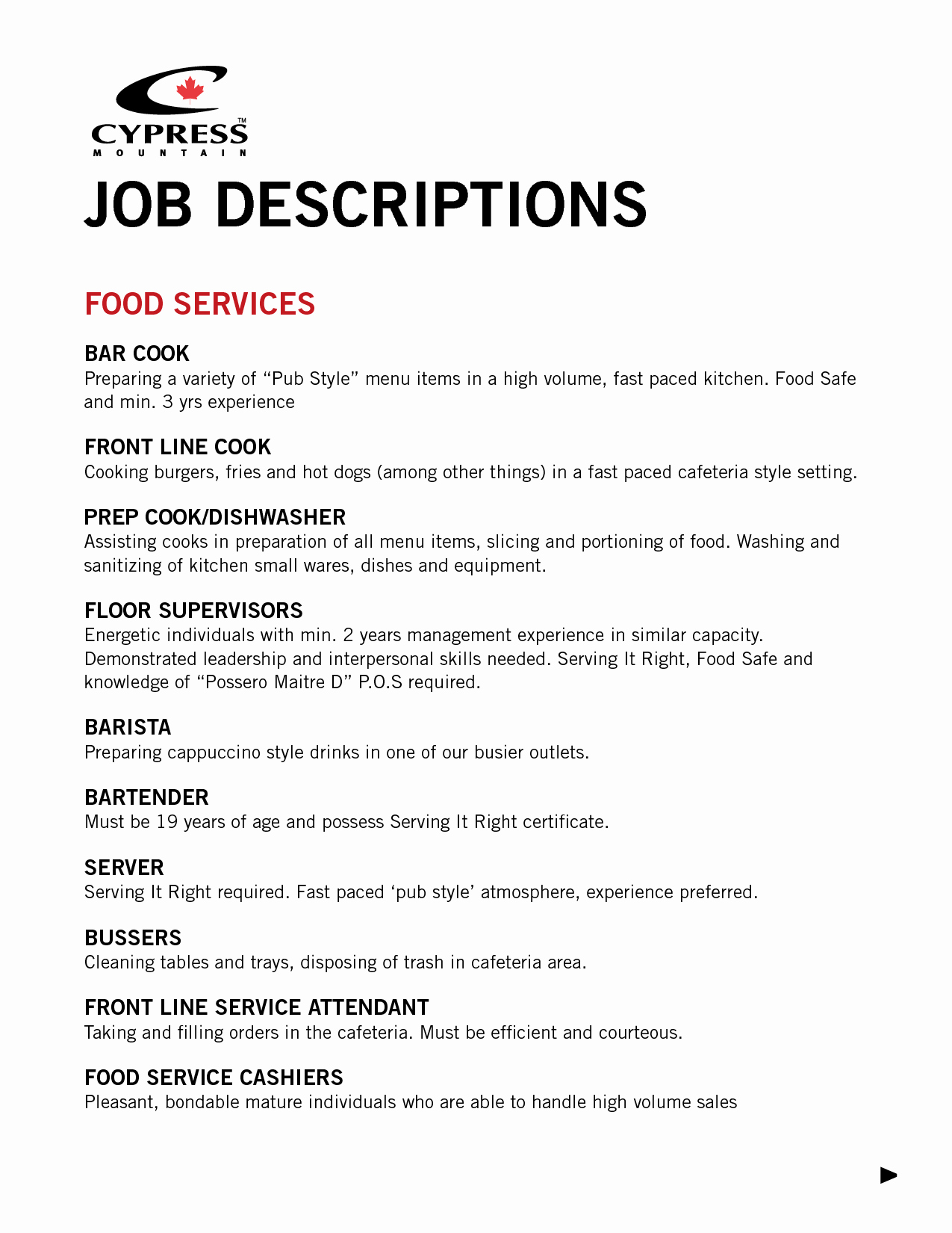 Food Service Resume Template Unique Food Service Worker Job Description Resume Resume Ideas