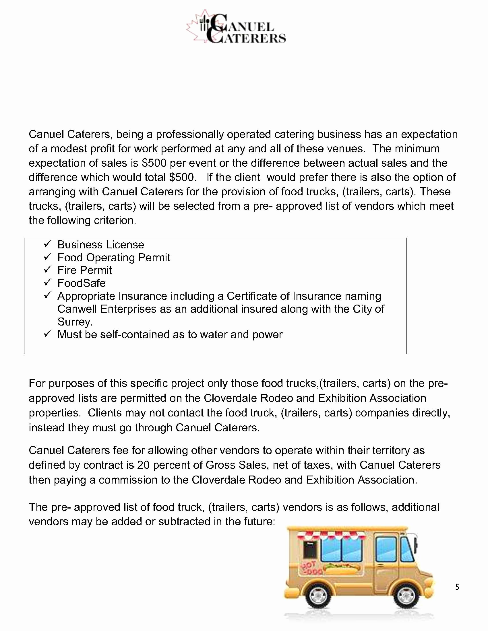 Food Truck Contract Template Elegant Food & Beverage