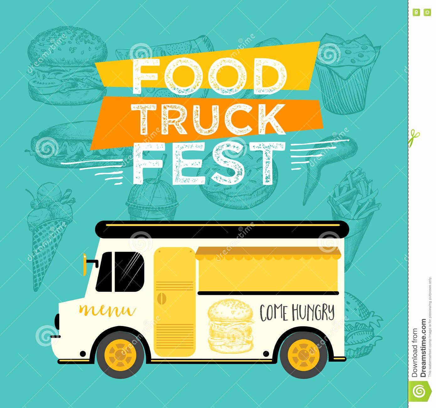 Food Truck Design Template Beautiful Food Truck Party Invitation Food Menu Template Design
