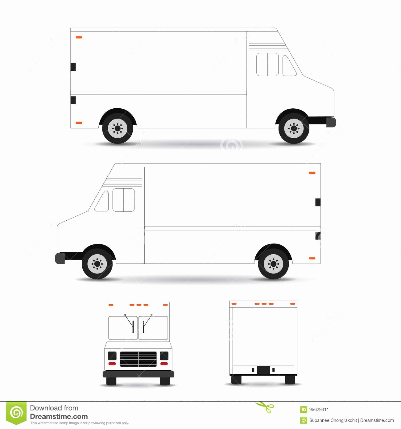 Food Truck Design Template Elegant Food Truck Template Outline Stroke White Background