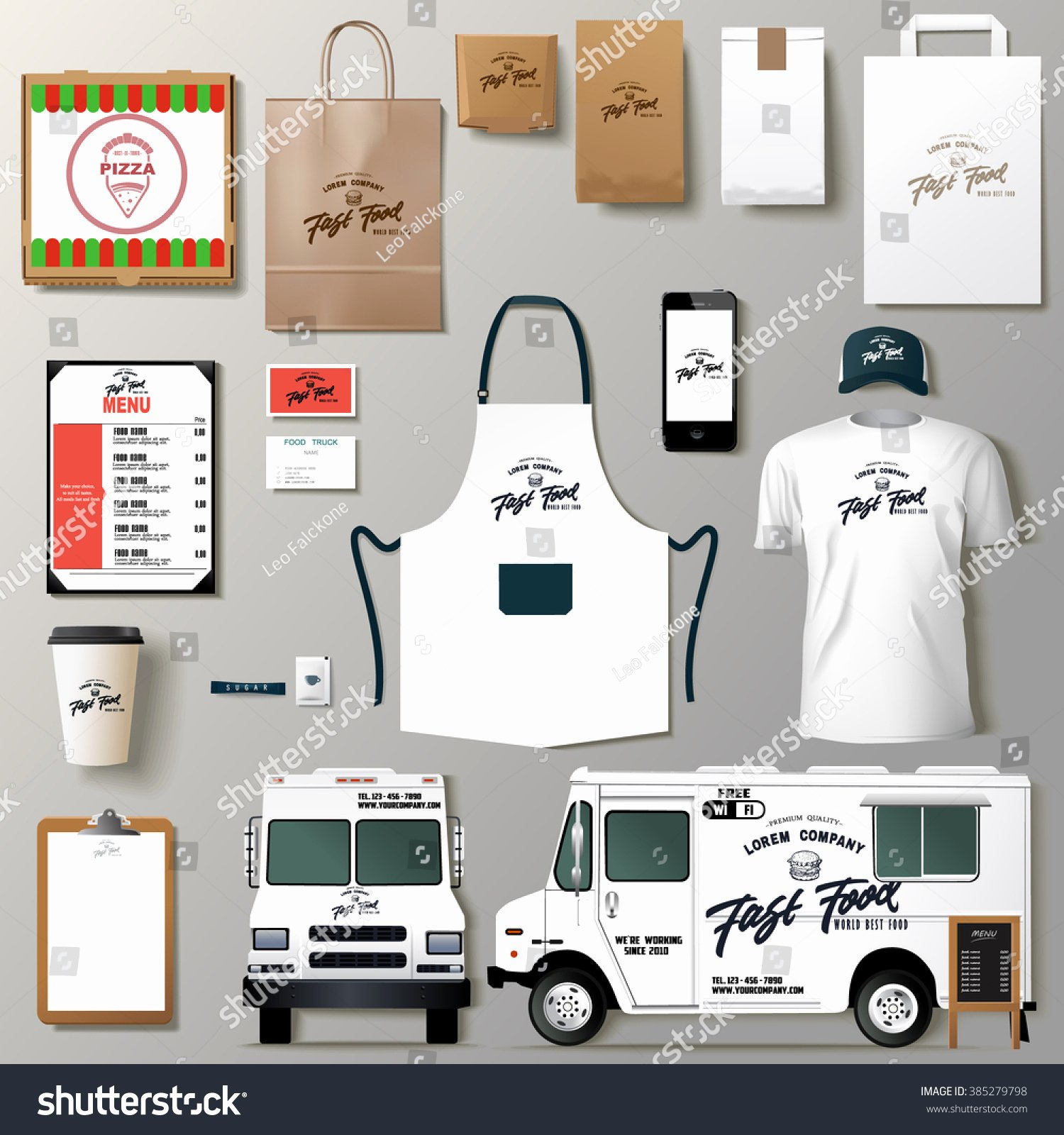Food Truck Design Template Fresh Vector Food Truck Corporate Identity Template Stock Vector