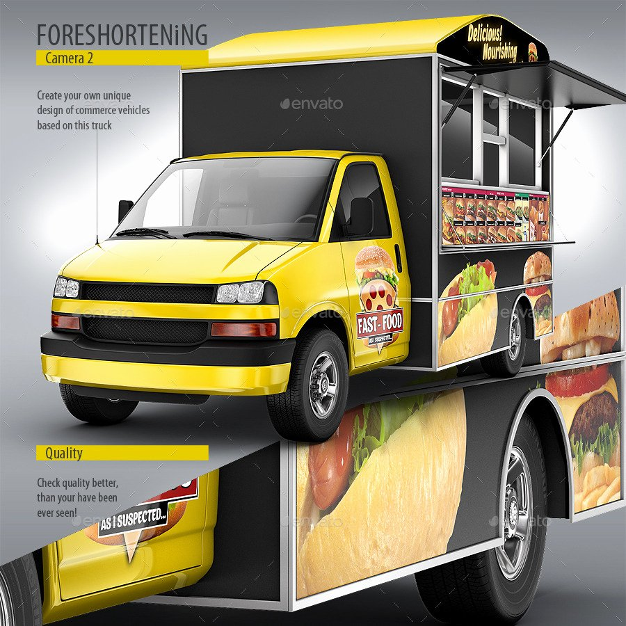 Food Truck Design Template Luxury Food Truck Mock Up Van Eatery Mockup by Bennet1890