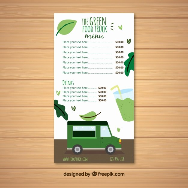 Food Truck Menu Template Awesome Vegan Food Truck Menu Template Vector
