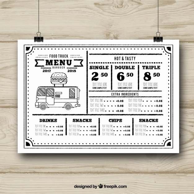 Food Truck Menu Template Beautiful Black and White Food Truck Menu Template Vector