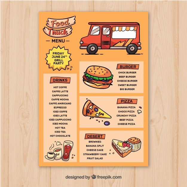Food Truck Menu Template Beautiful Hand Drawn Food Truck Menu Template Vector