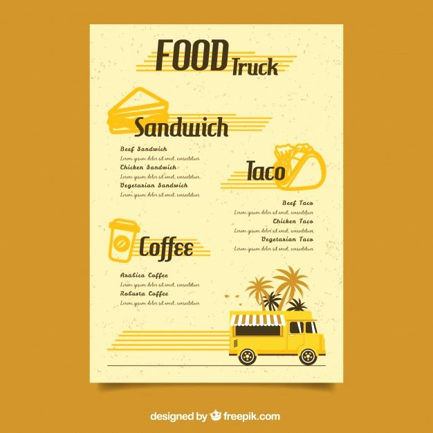 Food Truck Menu Template Beautiful Retro Food Truck Menu Template Vector