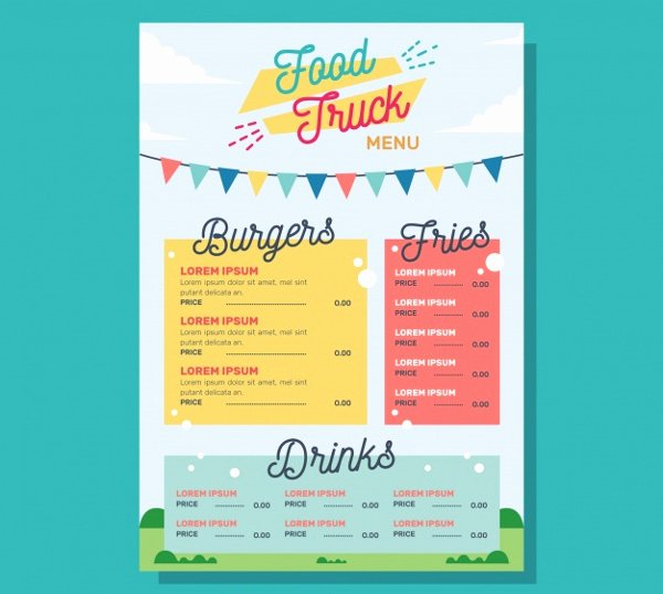 Food Truck Menu Template Fresh 20 Food Truck Menu Templates Free Premium Psd Vector