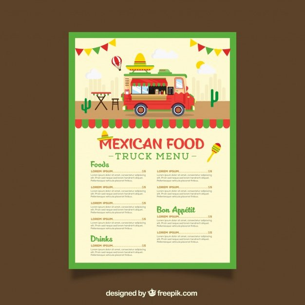 Food Truck Menu Template Fresh Food Truck Menu Template Wit Mexican Food Vector