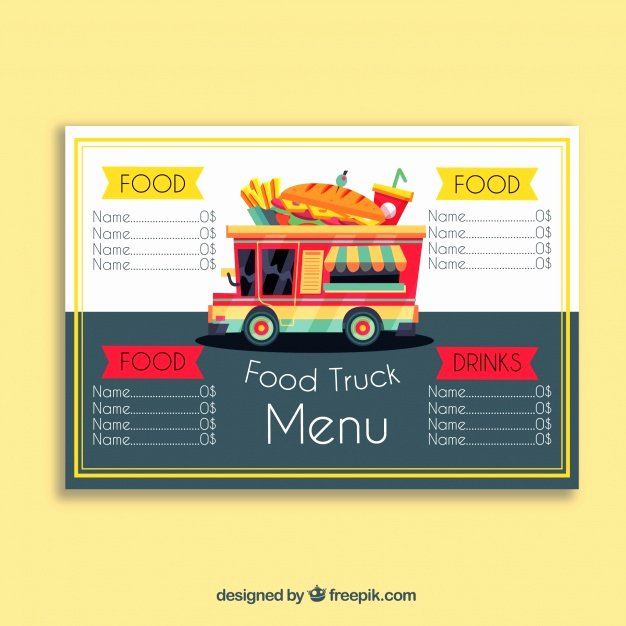 Food Truck Menu Template Fresh Food Truck Menu with Sandwich Vector
