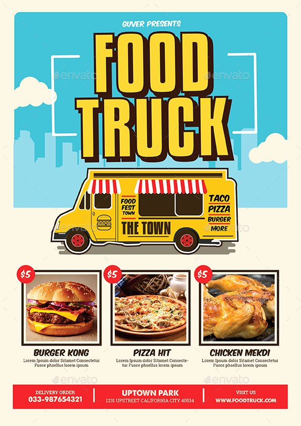 Food Truck Menu Template Fresh Pop Art Food Truck Flyer Poster Menu by Guuver