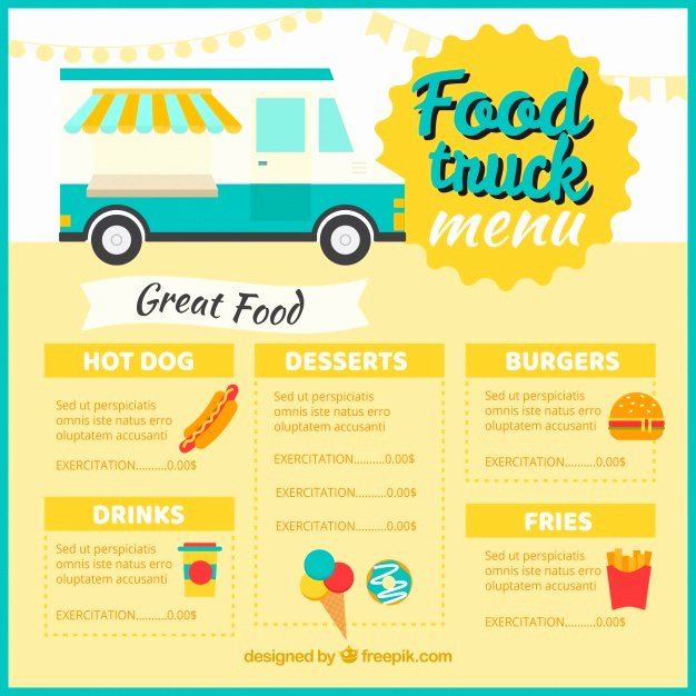 Food Truck Menu Template Inspirational Classic Food Truck Menu Template Vector