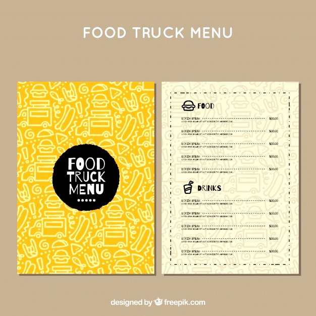 Food Truck Menu Template Luxury Food Truck Vectors S and Psd Files