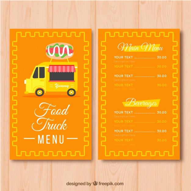 Food Truck Menu Template New Burger Food Truck Menu Template