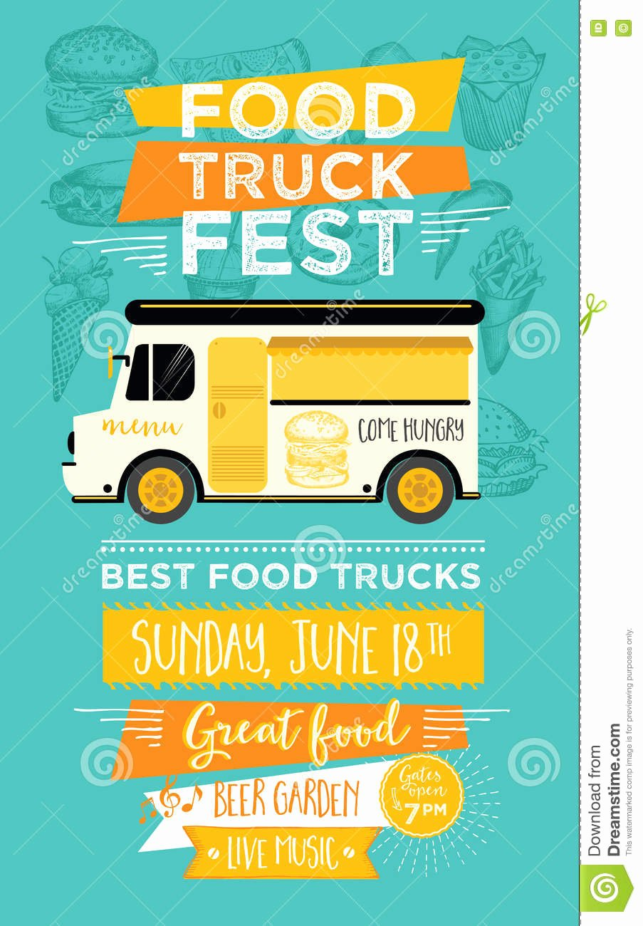Food Truck Menu Template New Food Truck Party Invitation Food Menu Template Design