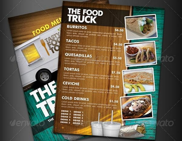 Food Truck Menu Template Unique 30 Food Menus Templates for Café and Restaurants