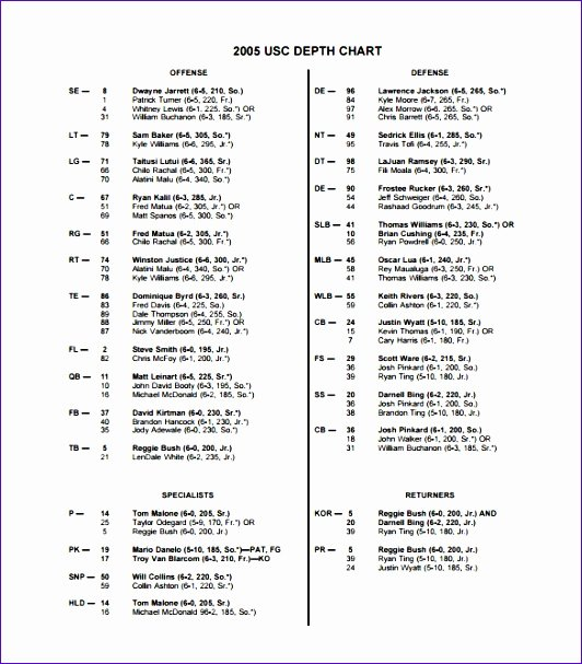 Football Depth Chart Template Best Of 10 Football Depth Chart Template Excel Exceltemplates