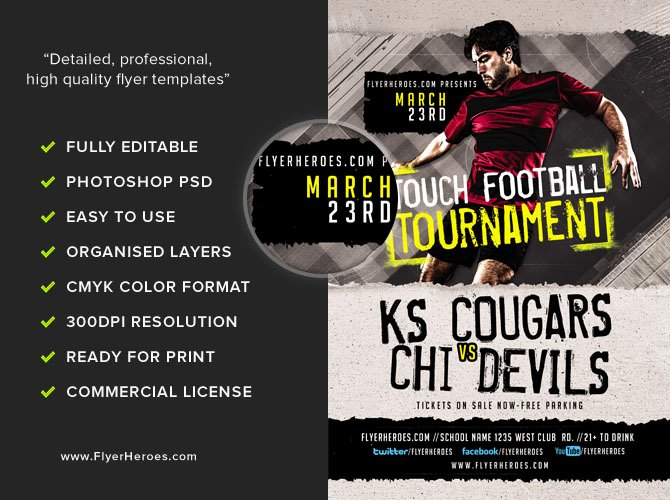 Football Flyer Template Free Awesome touch Football tournament Flyer Template Flyerheroes