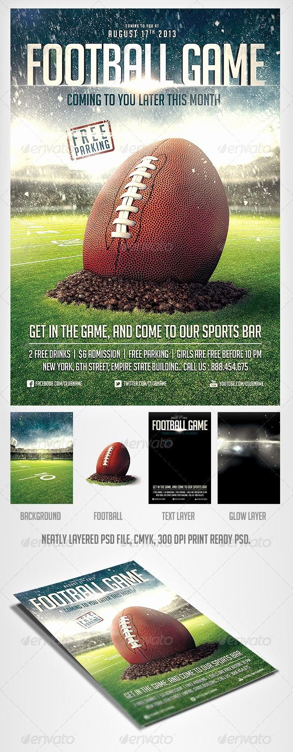 Football Flyer Template Free Beautiful Football Game Flyer Template