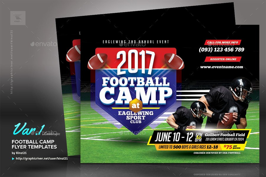 Football Flyer Template Free Unique Football Camp Flyer Templates by Kinzi21