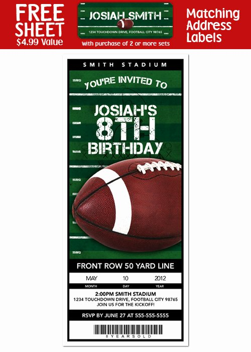 Football Invitation Template Free Beautiful Party Invitation Templates Football Birthday Party